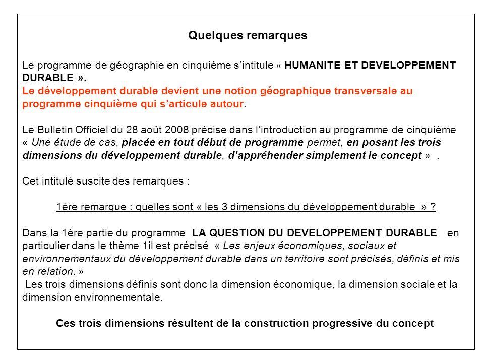 Quelques remarques Le programme de géographie en cinquième sintitule « HUMANITE ET DEVELOPPEMENT DURABLE ». Le développement durable devient une notio