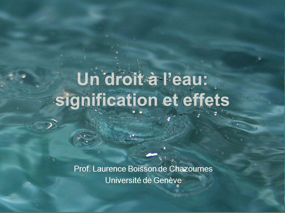 Un droit à leau: signification et effets Prof. Laurence Boisson de Chazournes Université de Genève