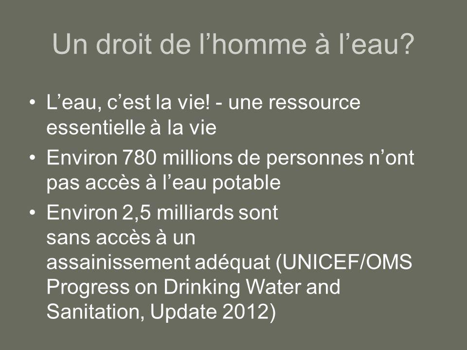 Un droit de lhomme à leau? Leau, cest la vie! - une ressource essentielle à la vie Environ 780 millions de personnes nont pas accès à leau potable Env