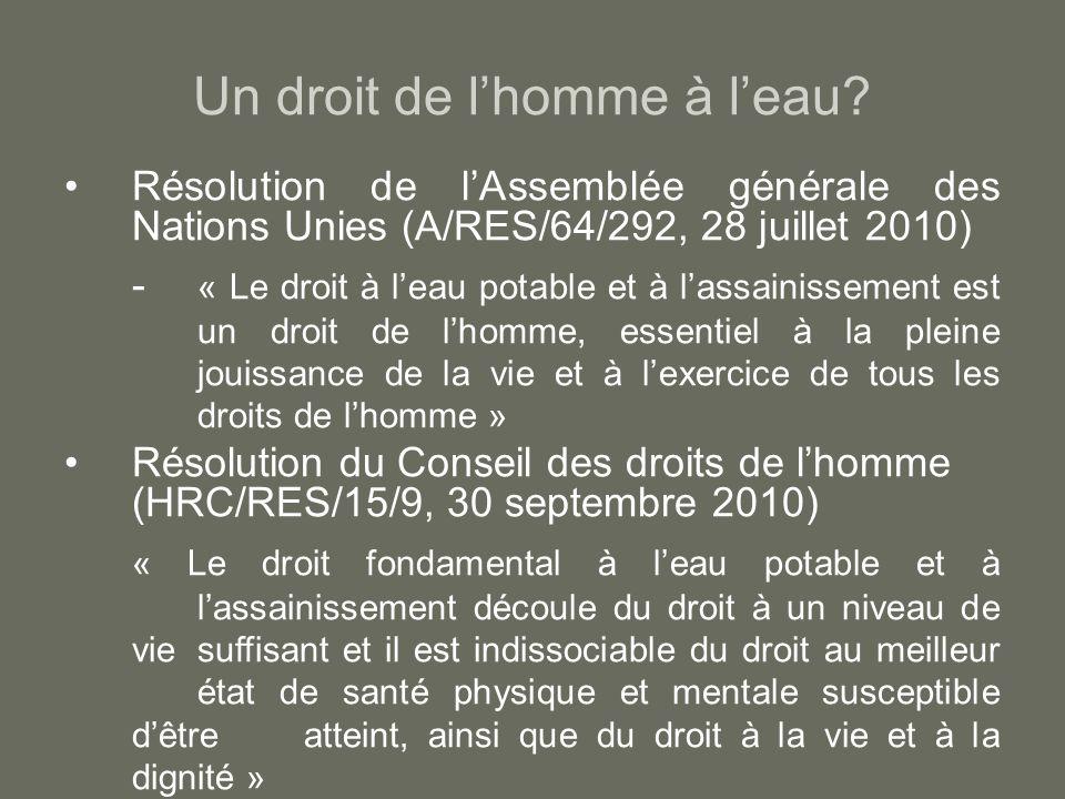 Un droit de lhomme à leau? Résolution de lAssemblée générale des Nations Unies (A/RES/64/292, 28 juillet 2010) - « Le droit à leau potable et à lassai