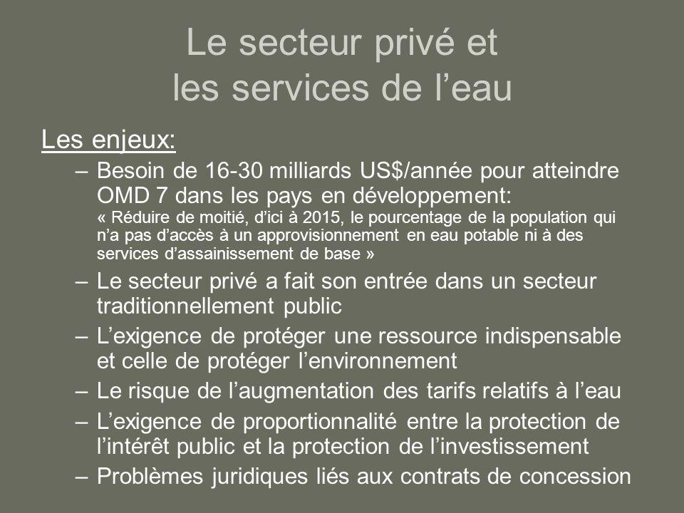 Le secteur privé et les services de leau Les enjeux: –Besoin de 16-30 milliards US$/année pour atteindre OMD 7 dans les pays en développement: « Rédui