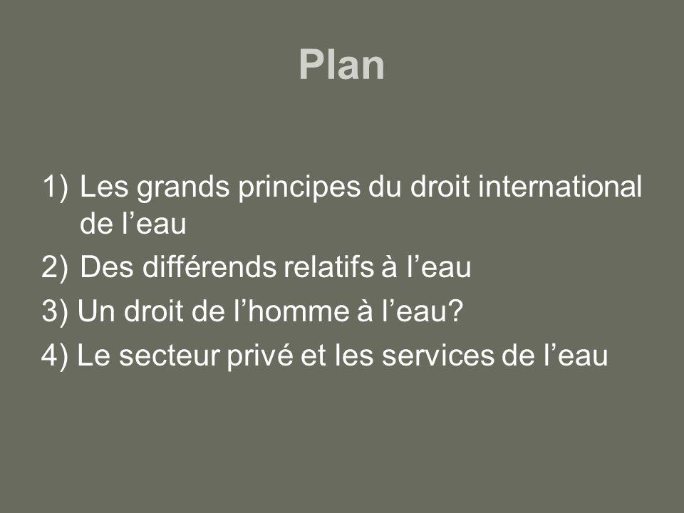 Plan 1)Les grands principes du droit international de leau 2)Des différends relatifs à leau 3) Un droit de lhomme à leau? 4) Le secteur privé et les s