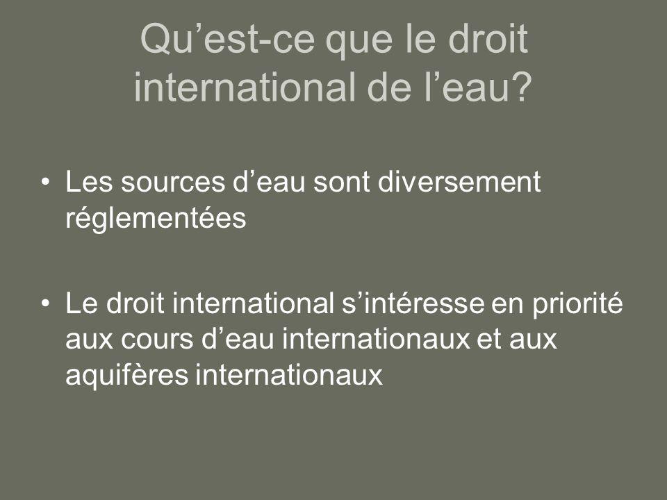 Quest-ce que le droit international de leau? Les sources deau sont diversement réglementées Le droit international sintéresse en priorité aux cours de