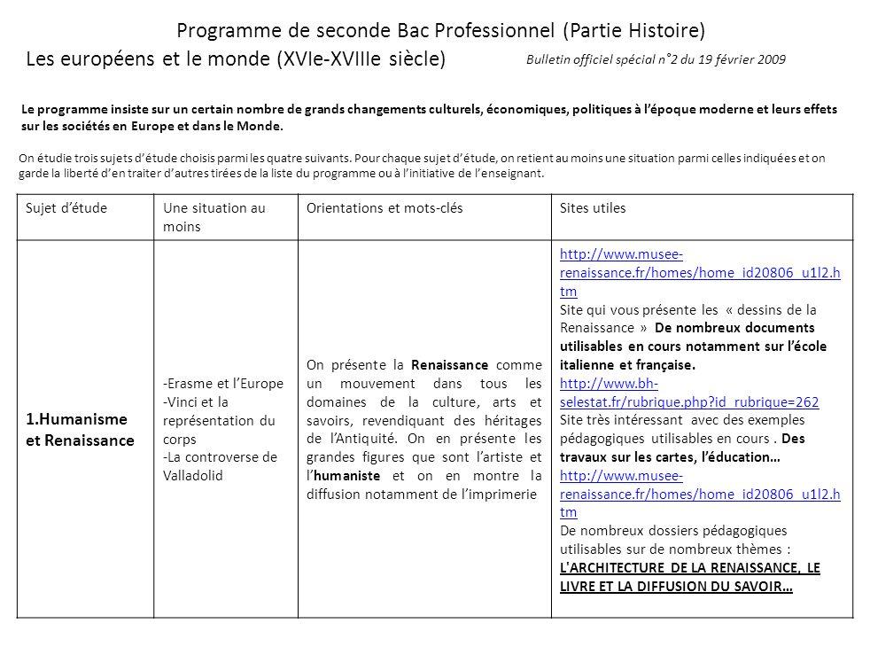 Programme de seconde Bac Professionnel (Partie Histoire) Les européens et le monde (XVIe-XVIIIe siècle) Le programme insiste sur un certain nombre de