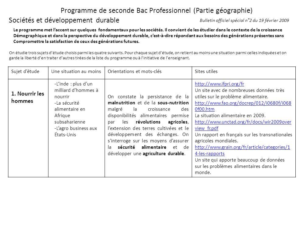 Programme de seconde Bac Professionnel (Partie géographie) Sociétés et développement durable Le programme met laccent sur quelques fondamentaux pour l