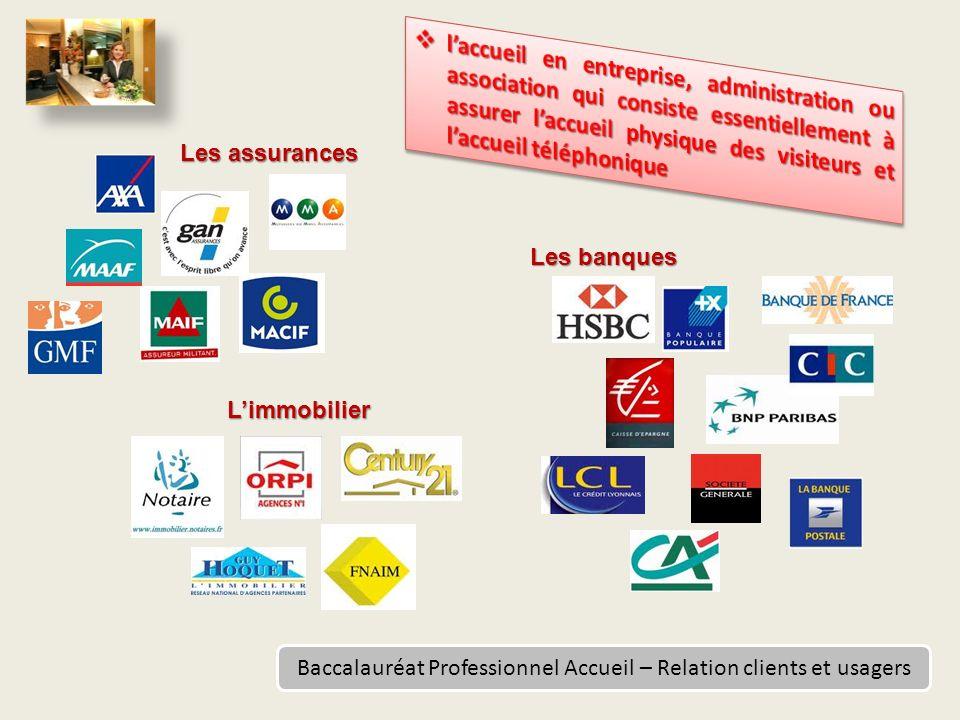 Baccalauréat Professionnel Accueil – Relation clients et usagers Les assurances Limmobilier Les banques