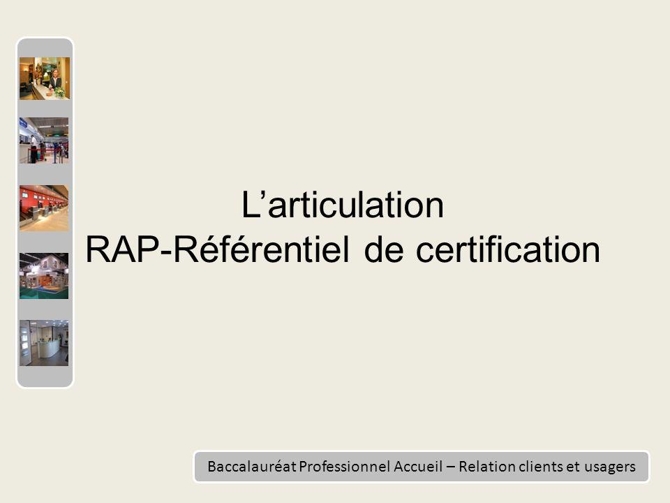 Baccalauréat Professionnel Accueil – Relation clients et usagers Larticulation RAP-Référentiel de certification