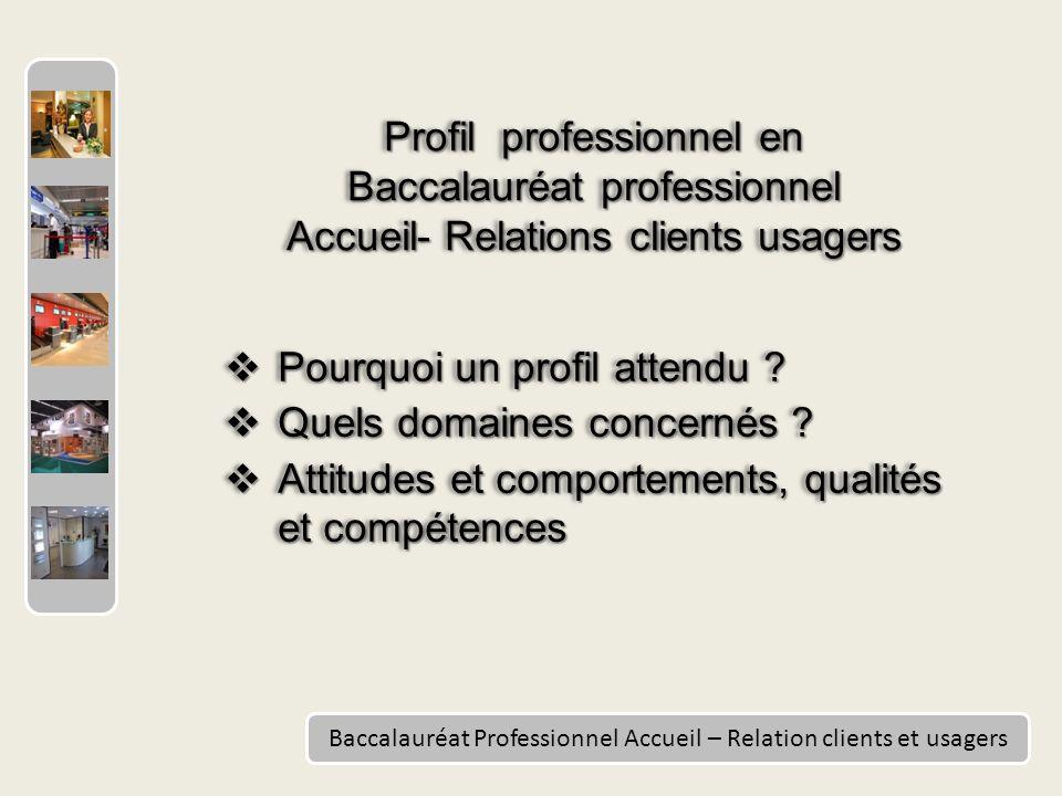Baccalauréat Professionnel Accueil – Relation clients et usagers Pourquoi un profil attendu .