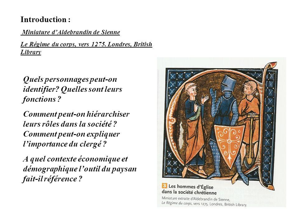 Introduction : Miniature dAldebrandin de Sienne Le Régime du corps, vers 1275. Londres, British Library Quels personnages peut-on identifier? Quelles