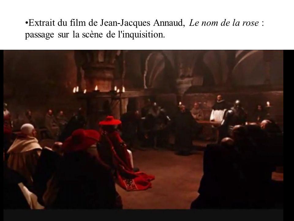 Extrait du film de Jean-Jacques Annaud, Le nom de la rose : passage sur la scène de l'inquisition.