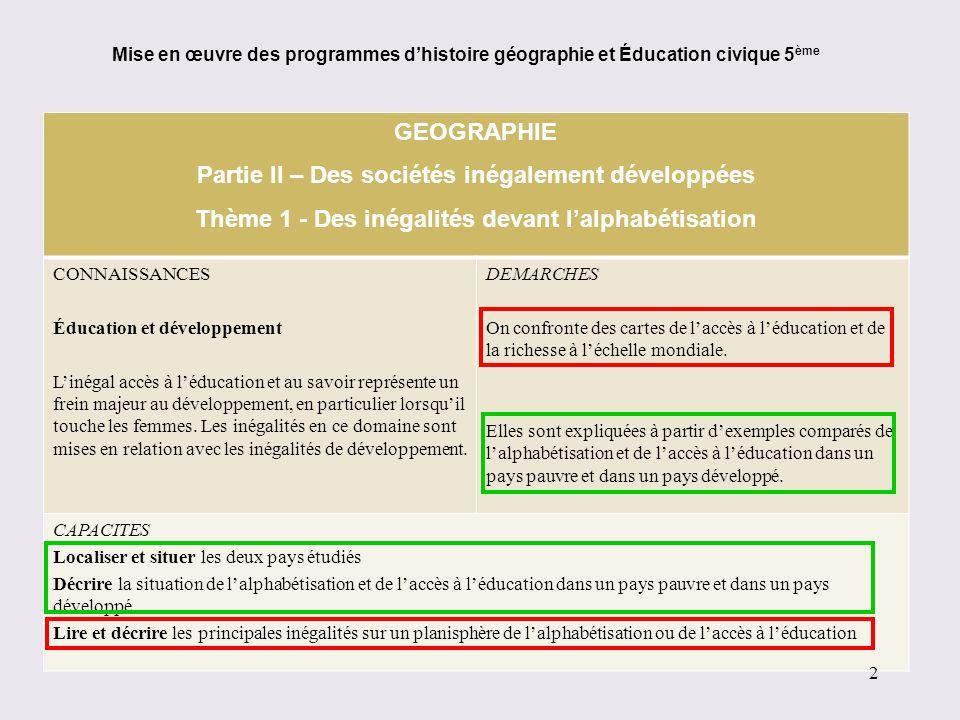 GEOGRAPHIE Partie II – Des sociétés inégalement développées Thème 1 - Des inégalités devant lalphabétisation CONNAISSANCES Éducation et développement