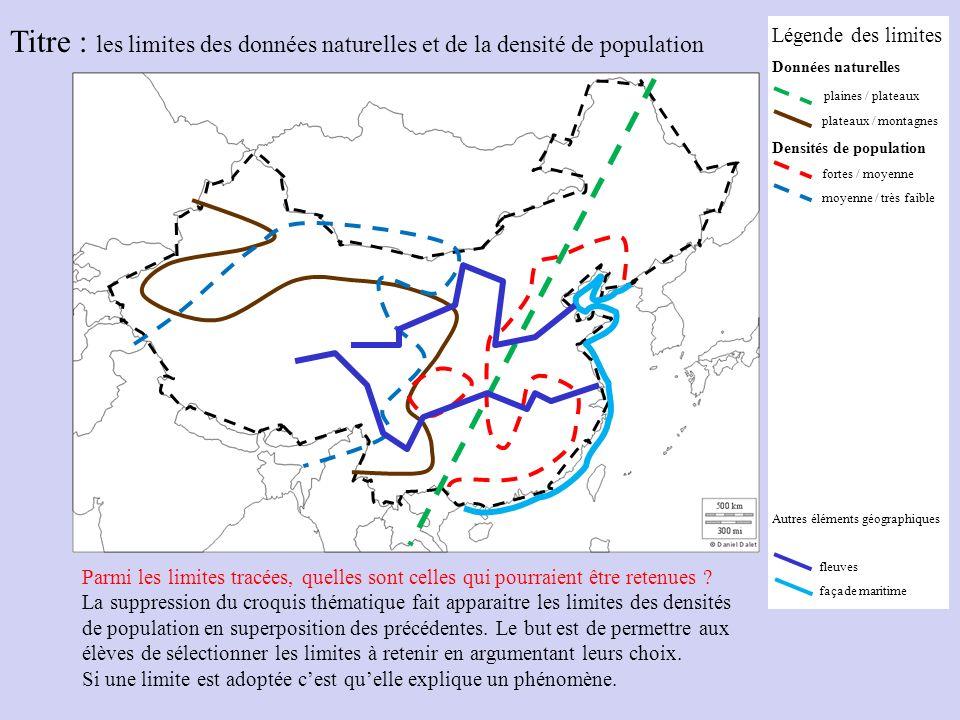 Titre : les limites des données naturelles et de la densité de population Parmi les limites tracées, quelles sont celles qui pourraient être retenues .