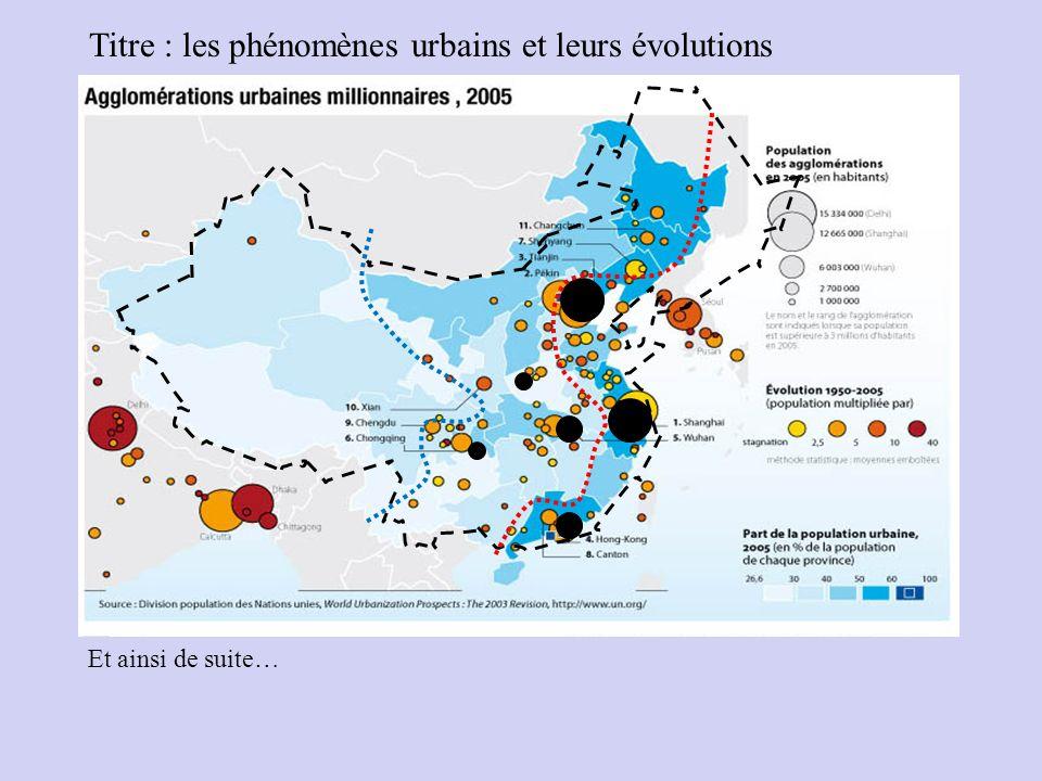 Titre : les phénomènes urbains et leurs évolutions Et ainsi de suite…