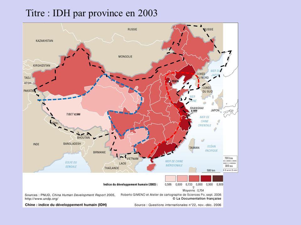 Titre : IDH par province en 2003 légende