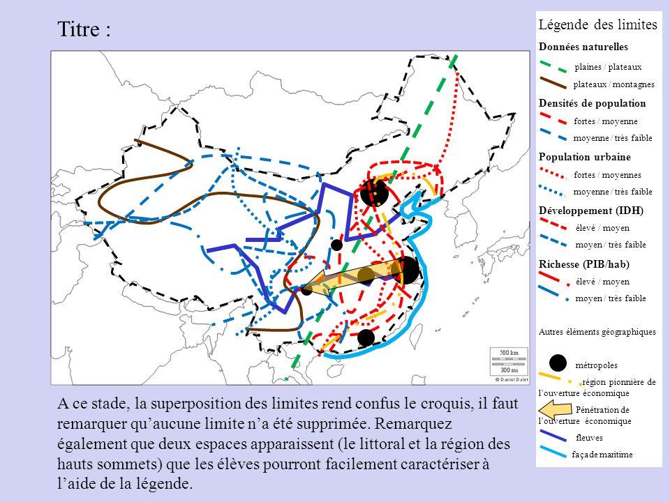 Légende des limites Données naturelles plaines / plateaux plateaux / montagnes Densités de population fortes / moyenne moyenne / très faible Populatio