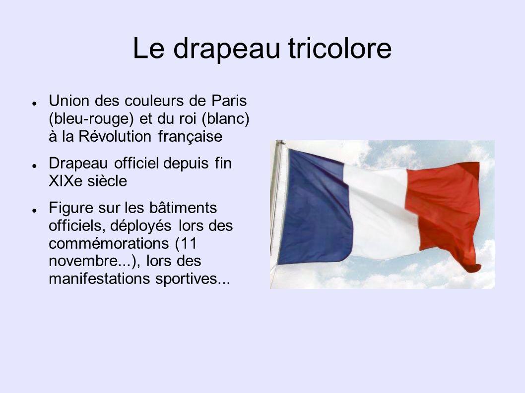 Le drapeau tricolore Union des couleurs de Paris (bleu-rouge) et du roi (blanc) à la Révolution française Drapeau officiel depuis fin XIXe siècle Figu