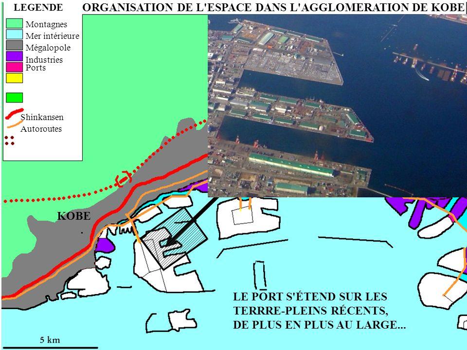 ORGANISATION DE L'ESPACE DANS L'AGGLOMERATION DE KOBE LEGENDE ASHIYA NISHINOMIYA KOBE Montagnes Mer intérieure Mégalopole Industries Ports Shinkansen