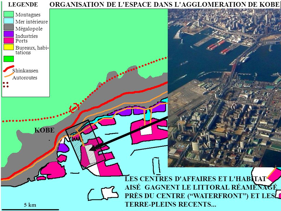 ORGANISATION DE L'ESPACE DANS L'AGGLOMERATION DE KOBE LEGENDE ASHIYA NISHINOMIYA KOBE Montagnes Mer intérieure Mégalopole Industries Ports Bureaux, ha