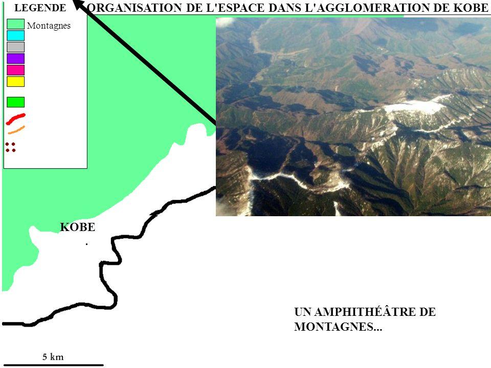 UN AMPHITHÉÂTRE DE MONTAGNES... LEGENDE ORGANISATION DE L'ESPACE DANS L'AGGLOMERATION DE KOBE Montagnes ASHIYA NISHINOMIYA KOBE