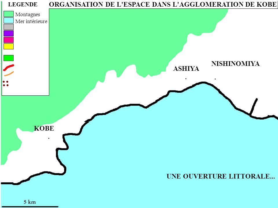 UNE OUVERTURE LITTORALE... ORGANISATION DE L'ESPACE DANS L'AGGLOMERATION DE KOBE LEGENDE Montagnes Mer intérieure ASHIYA NISHINOMIYA KOBE