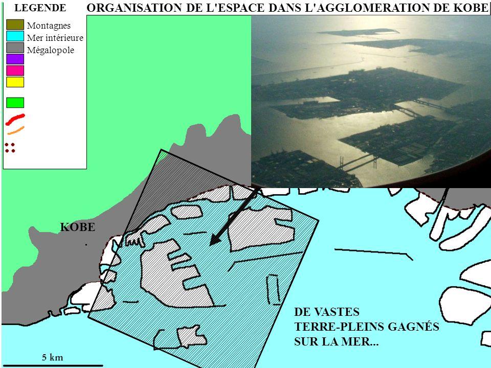 ORGANISATION DE L ESPACE DANS L AGGLOMERATION DE KOBE LEGENDE DE VASTES TERRE-PLEINS GAGNÉS SUR LA MER...
