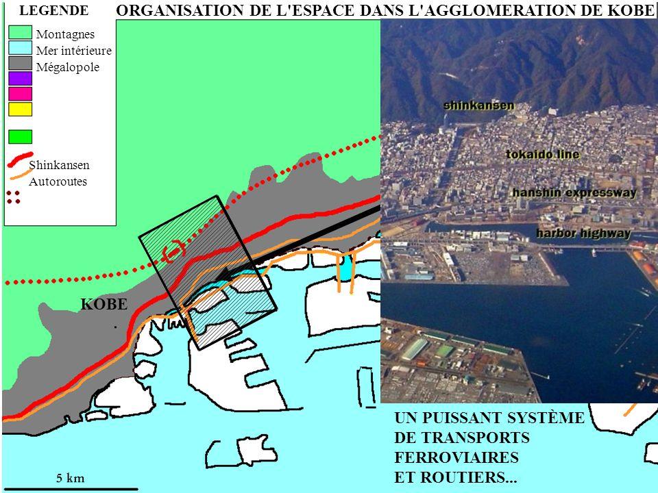 ORGANISATION DE L'ESPACE DANS L'AGGLOMERATION DE KOBE LEGENDE UN PUISSANT SYSTÈME DE TRANSPORTS FERROVIAIRES ET ROUTIERS... Montagnes Mer intérieure M