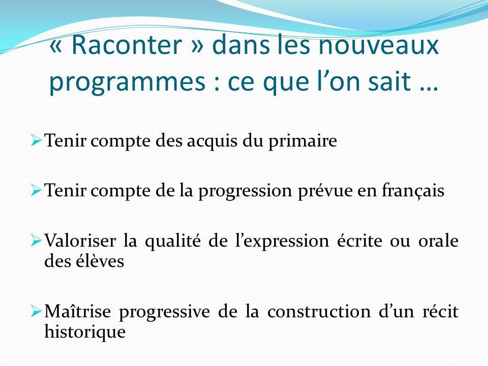 « Raconter » dans les nouveaux programmes : ce que lon sait … Tenir compte des acquis du primaire Tenir compte de la progression prévue en français Va