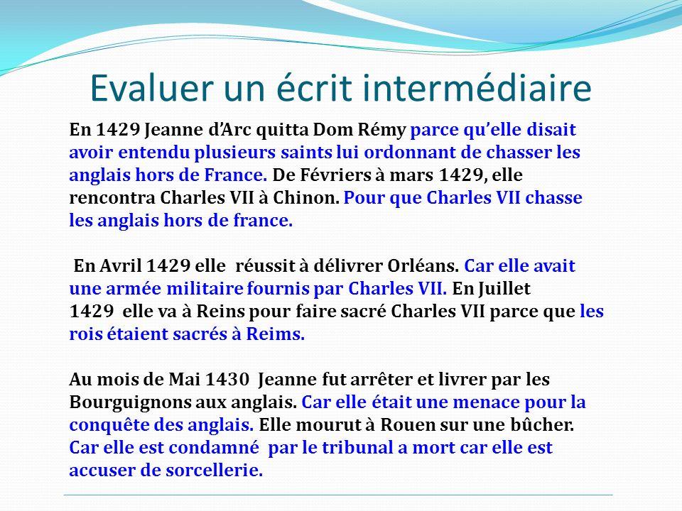 Evaluer un écrit intermédiaire En 1429 Jeanne dArc quitta Dom Rémy parce quelle disait avoir entendu plusieurs saints lui ordonnant de chasser les ang