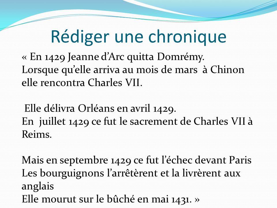 Rédiger une chronique « En 1429 Jeanne dArc quitta Domrémy. Lorsque quelle arriva au mois de mars à Chinon elle rencontra Charles VII. Elle délivra Or