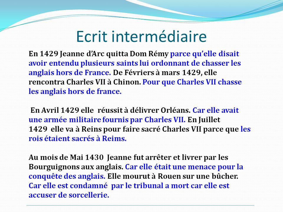Après un temps de réécriture En 1429, Jeanne dArc quitta Domrémy : elle dirait pendant son procès quelle avait entendu plusieurs saints lui ordonnant de chasser les anglais hors de France.