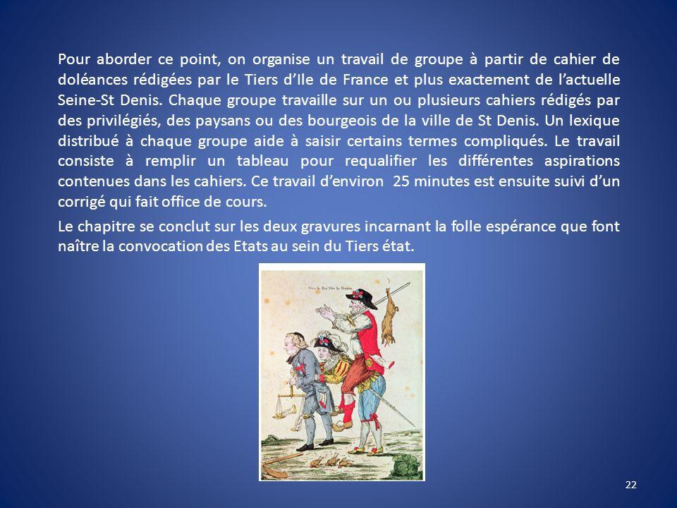 Pour aborder ce point, on organise un travail de groupe à partir de cahier de doléances rédigées par le Tiers dIle de France et plus exactement de lac