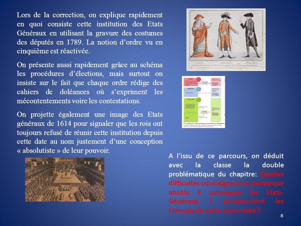 Lors de la correction, on explique rapidement en quoi consiste cette institution des Etats Généraux en utilisant la gravure des costumes des députés e