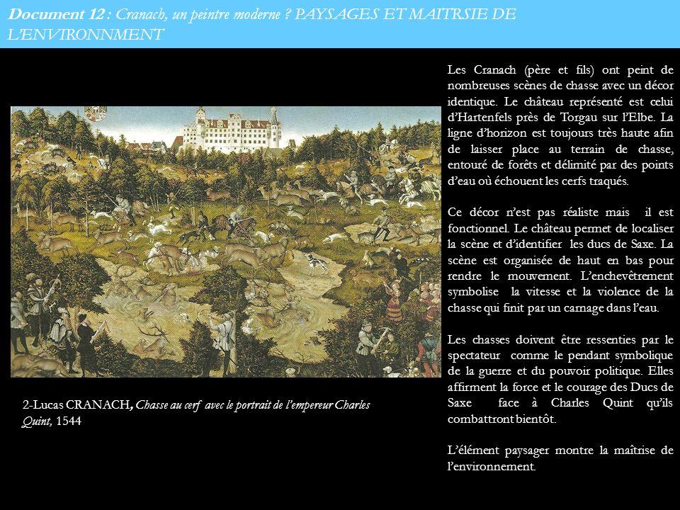 Document 12 : Cranach, un peintre moderne ? PAYSAGES ET MAITRSIE DE LENVIRONNMENT 2-Lucas CRANACH, Chasse au cerf avec le portrait de lempereur Charle
