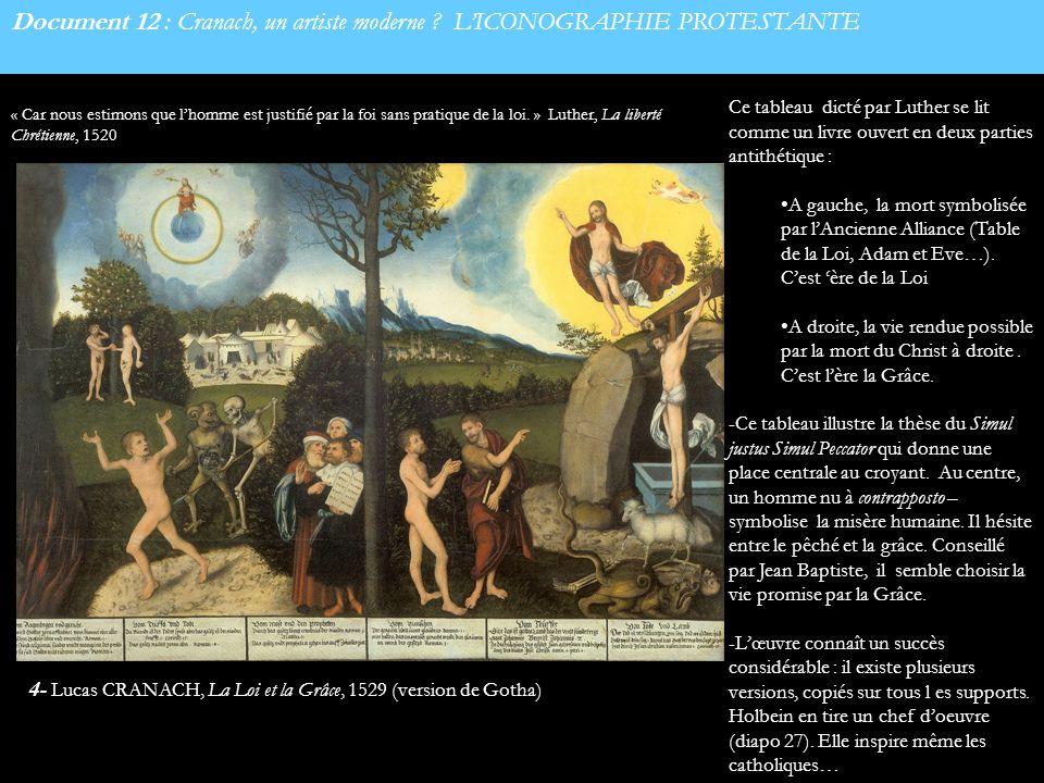 Document 12 : Cranach, un artiste moderne ? LICONOGRAPHIE PROTESTANTE Ce tableau dicté par Luther se lit comme un livre ouvert en deux parties antithé