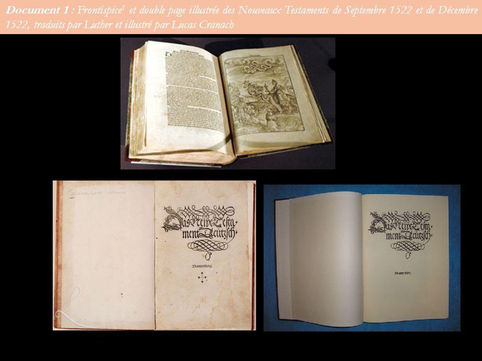 Document 1 : Frontispice 1 et double page illustrée des Nouveaux Testaments de Septembre 1522 et de Décembre 1522, traduits par Luther et illustré par