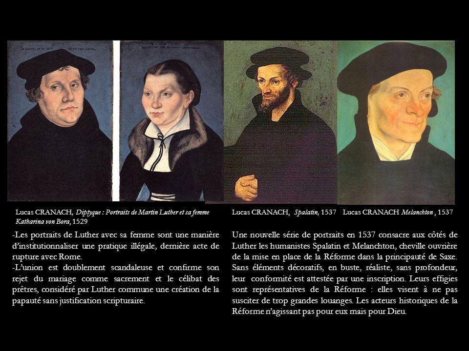 Lucas CRANACH Melanchton, 1537Lucas CRANACH, Spalatin, 1537 Une nouvelle série de portraits en 1537 consacre aux côtés de Luther les humanistes Spalat