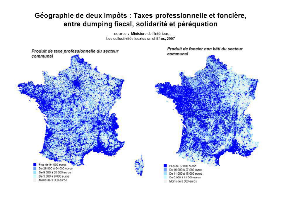 Géographie de deux impôts : Taxes professionnelle et foncière, entre dumping fiscal, solidarité et péréquation source : Ministère de lIntérieur, Les collectivités locales en chiffres, 2007