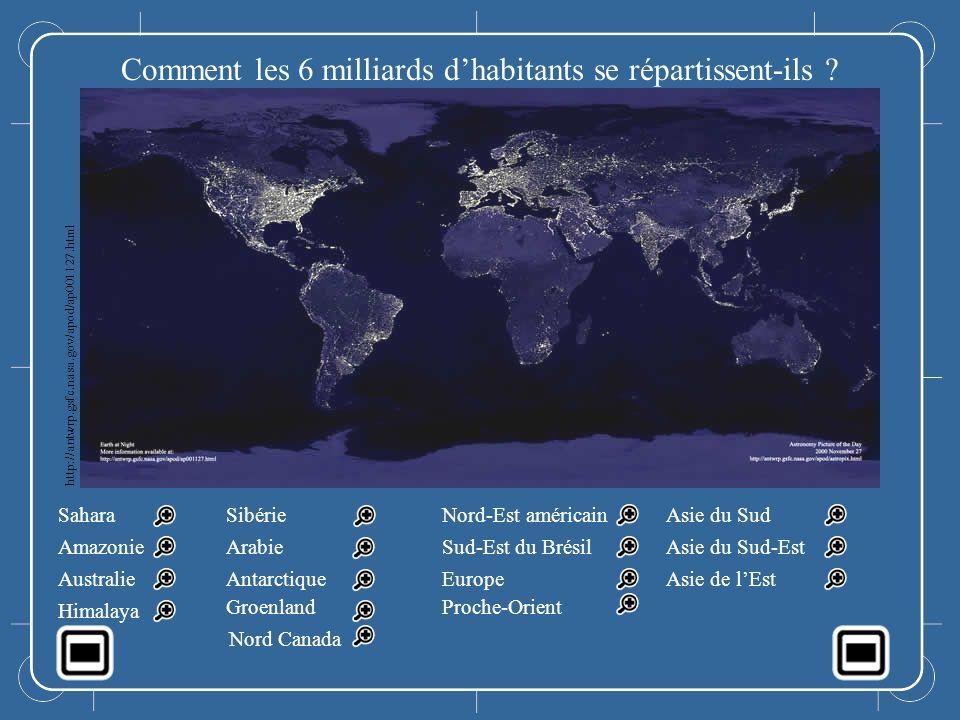 Le monde la nuit Comment les 6 milliards dhabitants se répartissent-ils ? Sahara Amazonie Australie Himalaya Sibérie Arabie Antarctique Groenland Nord