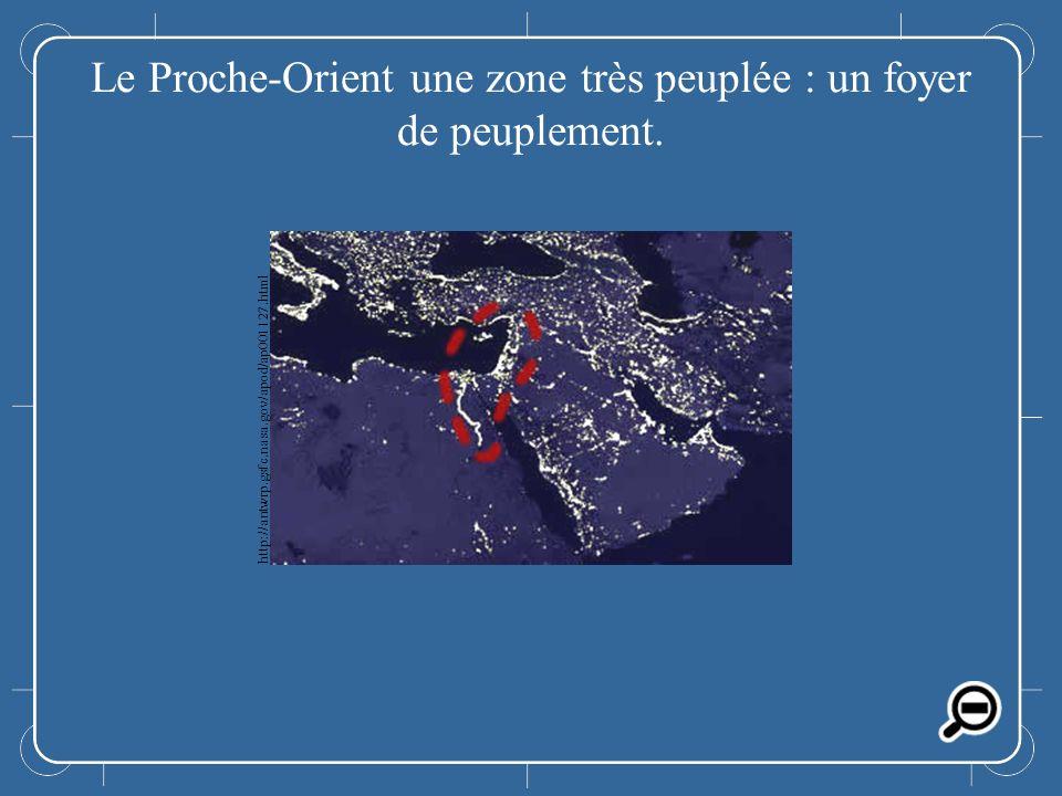 Le Proche-Orient Le Proche-Orient une zone très peuplée : un foyer de peuplement. http://antwrp.gsfc.nasa.gov/apod/ap001127.html