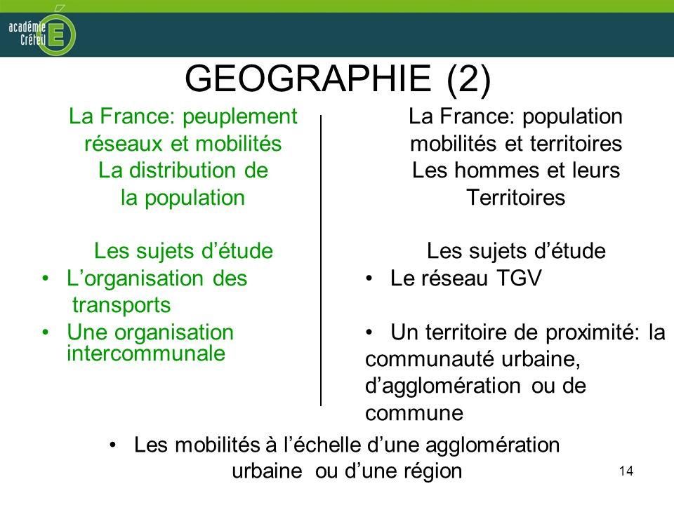14 GEOGRAPHIE (2) La France: peuplement réseaux et mobilités La distribution de la population Les sujets détude Lorganisation des transports Une organ