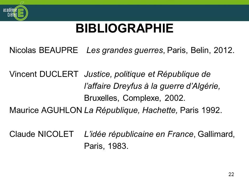 22 BIBLIOGRAPHIE Nicolas BEAUPRE Les grandes guerres, Paris, Belin, 2012. Vincent DUCLERT Justice, politique et République de laffaire Dreyfus à la gu
