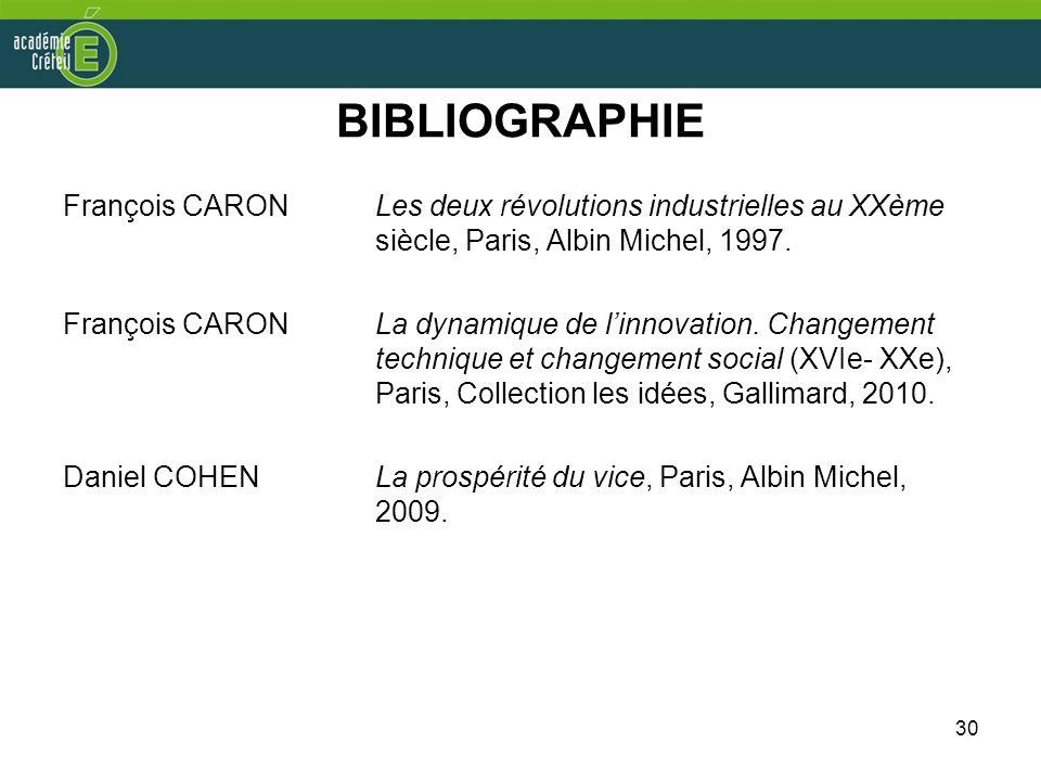 30 BIBLIOGRAPHIE François CARONLes deux révolutions industrielles au XXème siècle, Paris, Albin Michel, 1997. François CARONLa dynamique de linnovatio