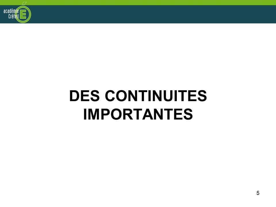 5 DES CONTINUITES IMPORTANTES