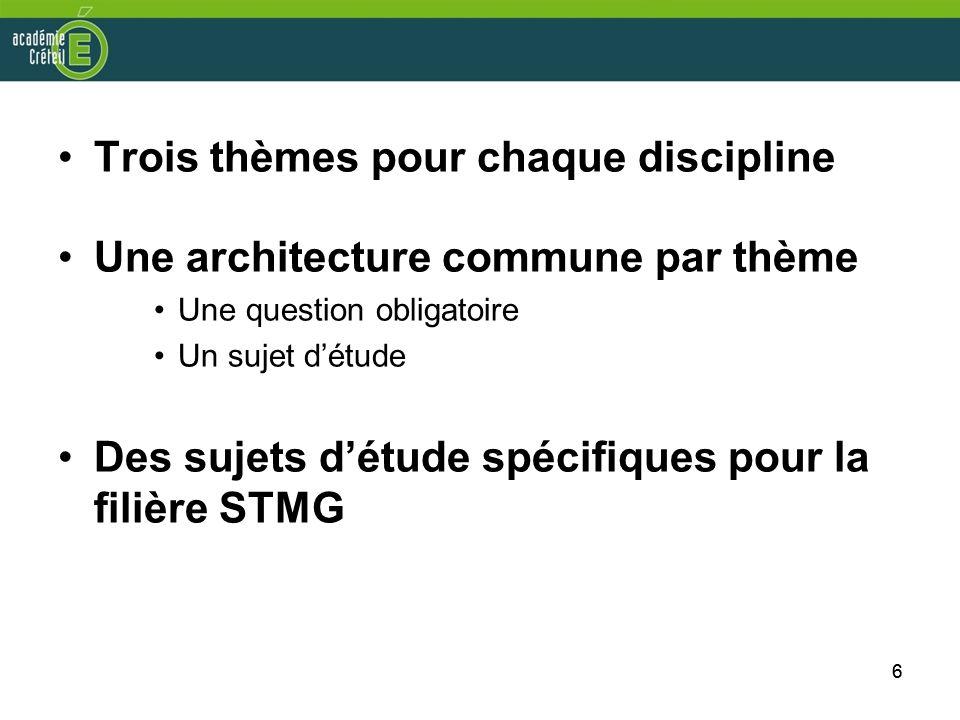 66 Trois thèmes pour chaque discipline Une architecture commune par thème Une question obligatoire Un sujet détude Des sujets détude spécifiques pour