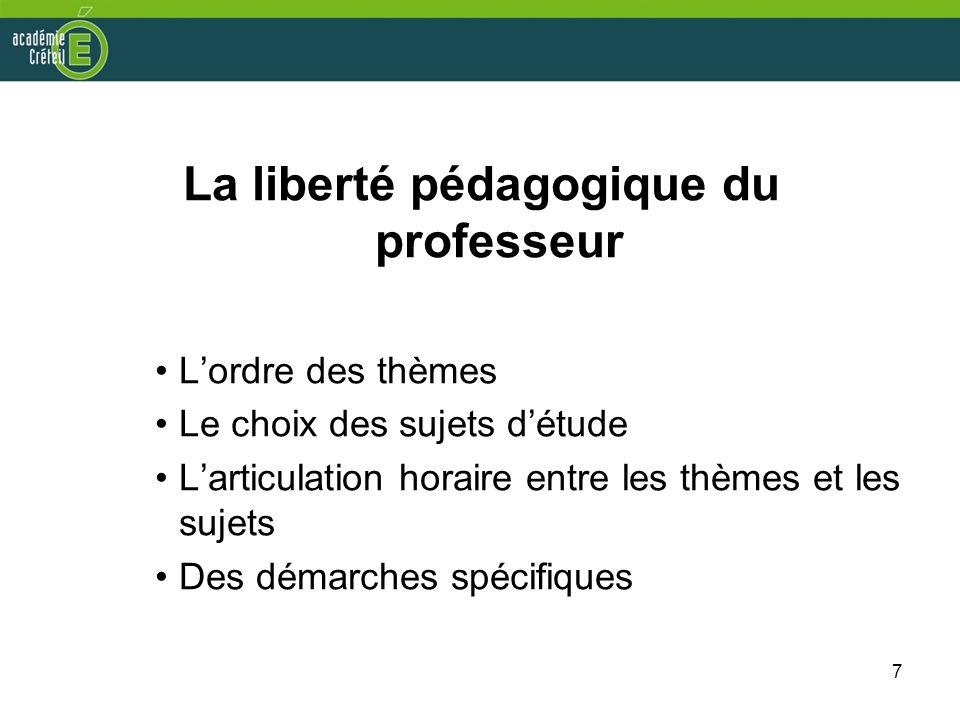 7 La liberté pédagogique du professeur Lordre des thèmes Le choix des sujets détude Larticulation horaire entre les thèmes et les sujets Des démarches