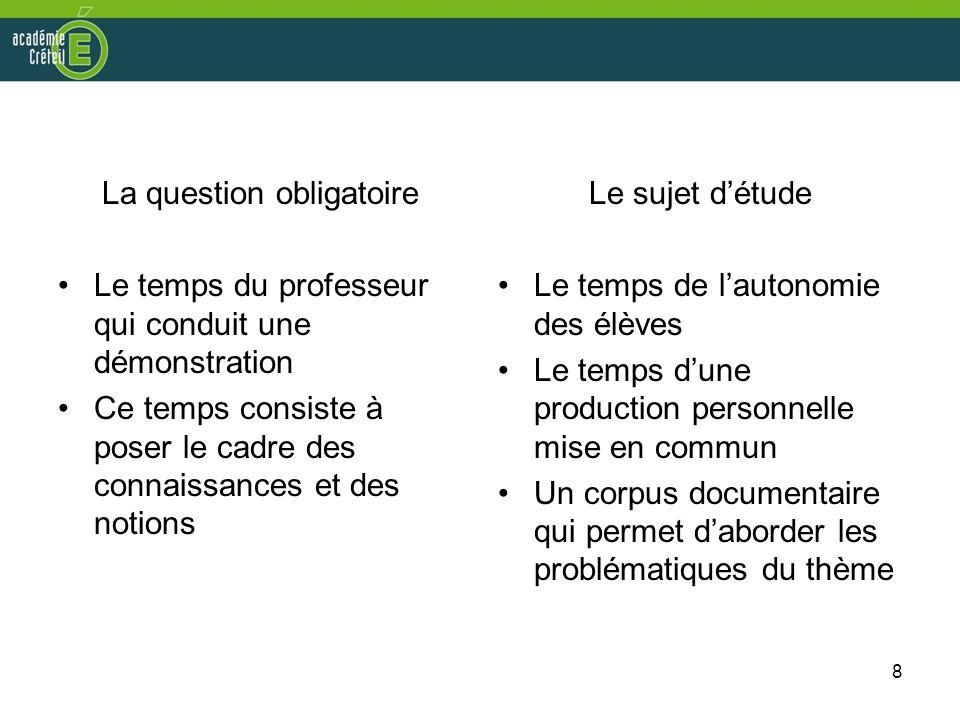 8 La question obligatoire Le temps du professeur qui conduit une démonstration Ce temps consiste à poser le cadre des connaissances et des notions Le