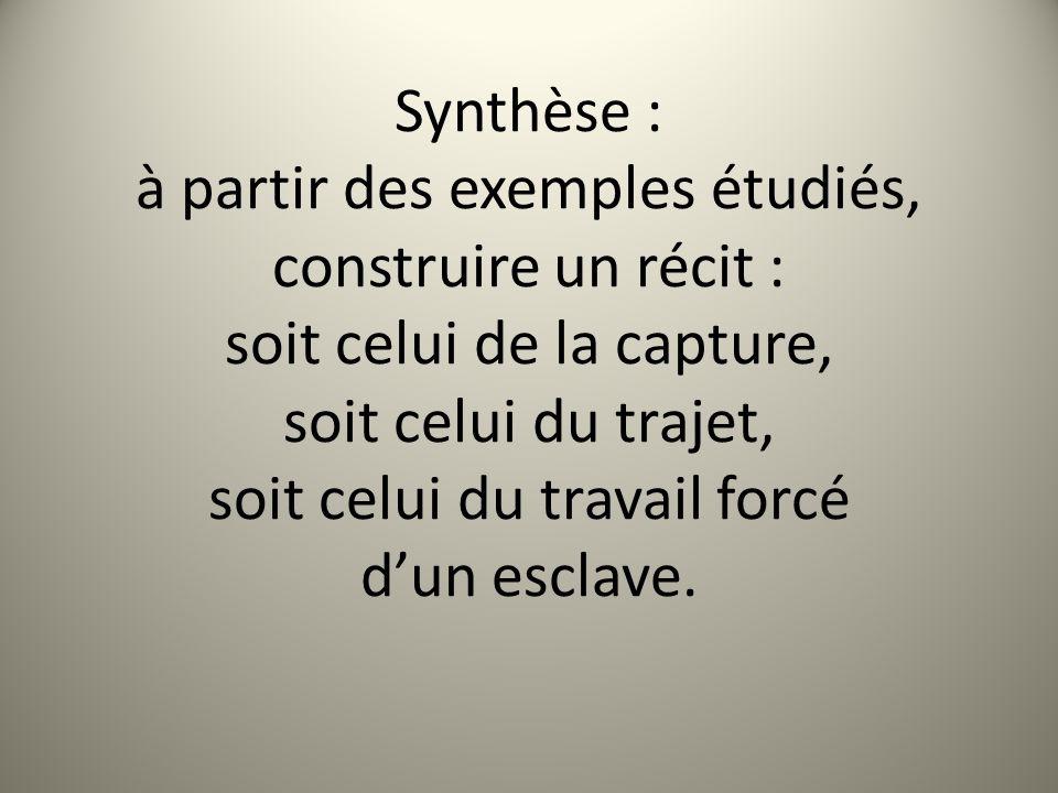 Synthèse : à partir des exemples étudiés, construire un récit : soit celui de la capture, soit celui du trajet, soit celui du travail forcé dun esclav