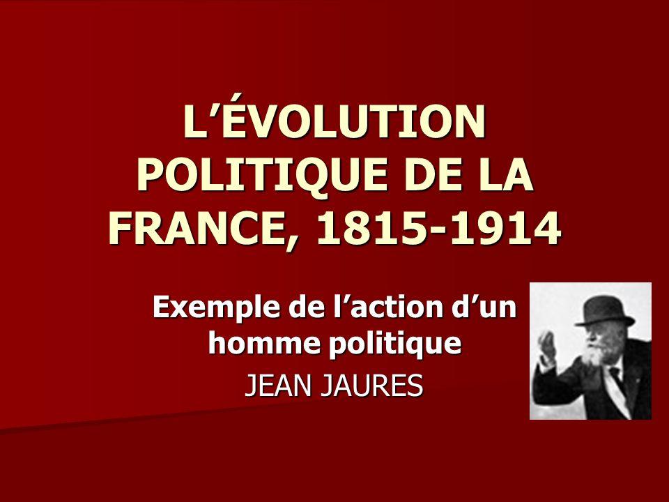 LÉVOLUTION POLITIQUE DE LA FRANCE, 1815-1914 Exemple de laction dun homme politique JEAN JAURES