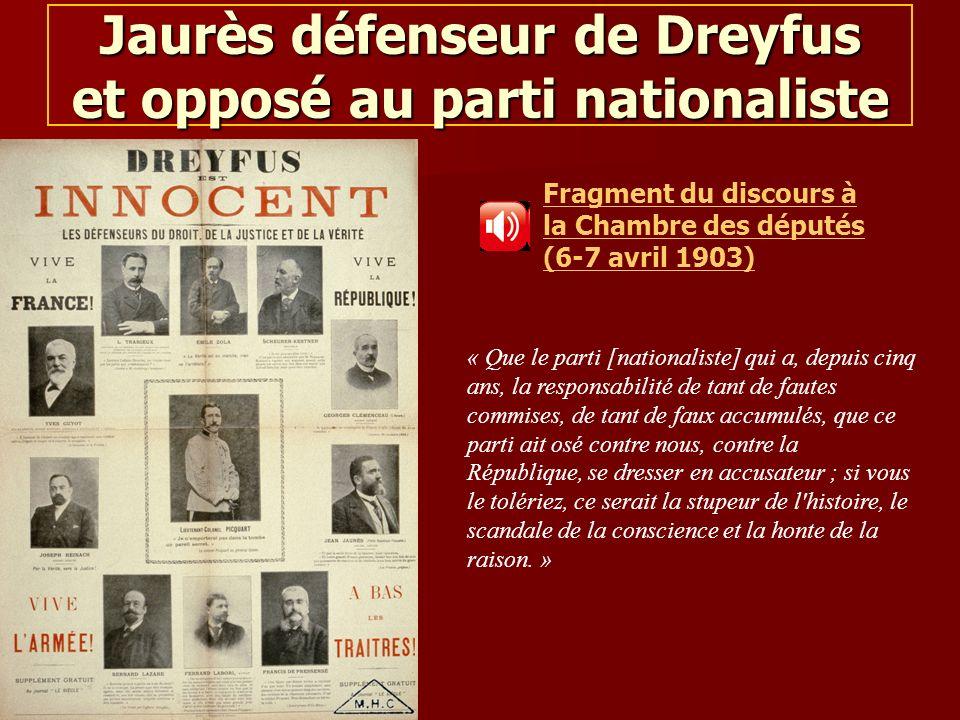 Pascale Monnet-Chaloin Jaurès défenseur de Dreyfus et opposé au parti nationaliste Fragment du discours à la Chambre des députés (6-7 avril 1903) « Qu