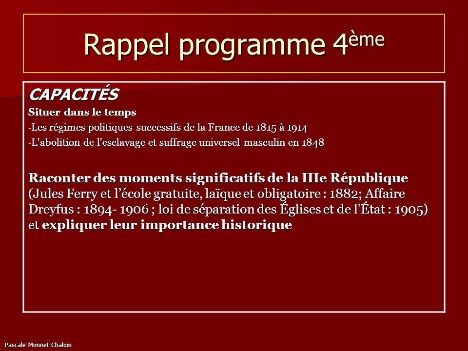 Pascale Monnet-Chaloin Rappel programme 4 ème CAPACITÉS Situer dans le temps - Les régimes politiques successifs de la France de 1815 à 1914 - L'aboli